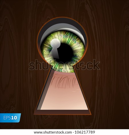 Interested Eye looking in keyhole, vector Eps10 illustration.
