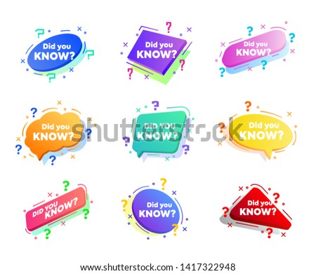 Interesting fact label. Banner or sicker with phrase did you know. Helpful template for ask or quiz