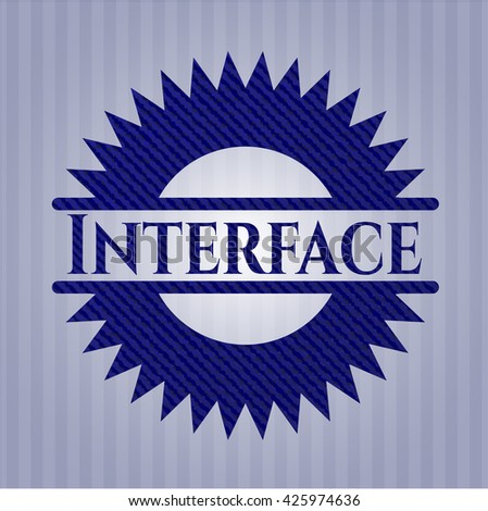 Interface badge with jean texture