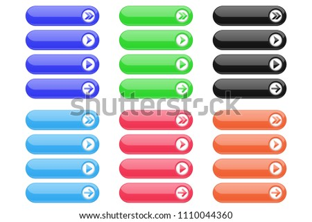 Interface buttons. Set of colored oval icons with arrows. Vector illustration isolated on white background