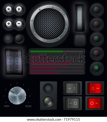 Interface buttons. Vector.