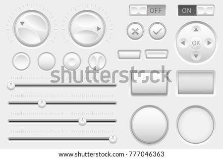 Interface buttons. Web toggle switch buttons, navigation buttons and slider bars. Vector 3d illustration