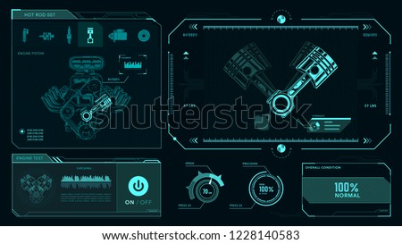 Interface, engine piston, combustion, mechanics vector drawing, GUI
