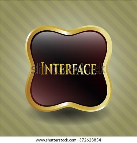 Interface golden emblem or badge