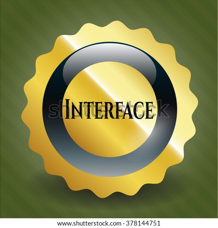 Interface golden emblem or badge