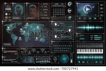 Interface HUD design set. UI futuristic infographic elements. Vector illustration. Virtual graphic touch user interface. Technology background. Social media icons collection.  Display elements for web