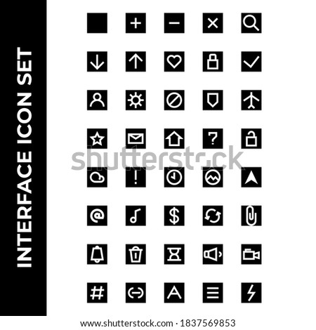 interface icon set include plus, minus, cross, search, download, upload, hearth, lock, check, user, setting, block, secure, airplane, star, message, house, help, unlock, cloud, caution, time