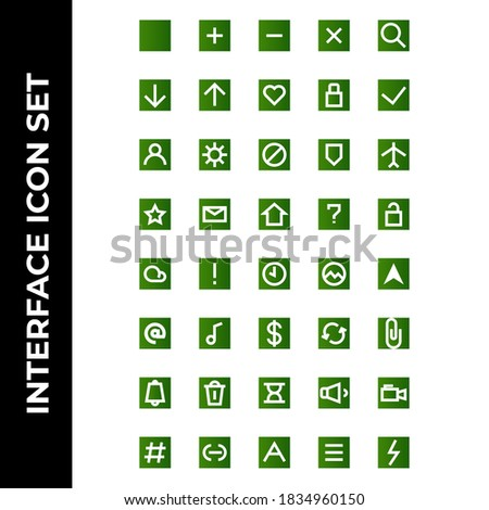 interface icon set include square,plus,minus,cross,search,download,upload,hearth,lock,check,user,setting,block,secure,airplane,star,message,house,help,unlock,cloud,caution,time,picture,message