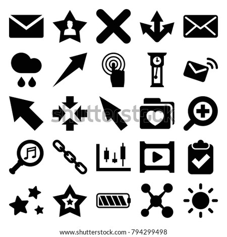 Interface icons. set of 25 editable filled interface icons such as mail, move, panel control, clipboard with tick, arrow, share, chain, folder with heart, touchscreen