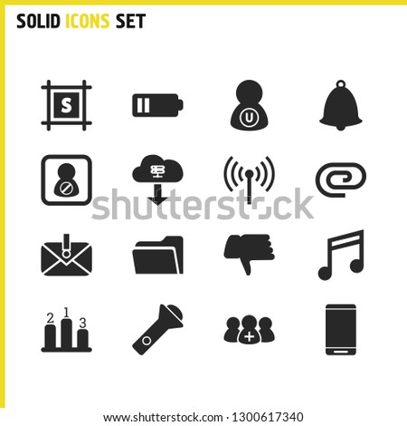 Interface icons set with black list, router and folder elements. Set of interface icons and quaver concept. Editable vector elements for logo app UI design.