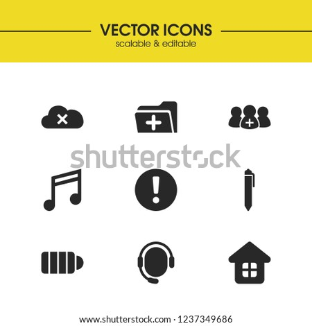 Interface icons set with cloud data, team and house elements. Set of interface icons and quaver concept. Editable vector elements for logo app UI design.
