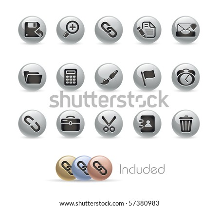 Interface // Metal Round Series --- It includes 4 color versions for each icon in different layers.--- - stock vector