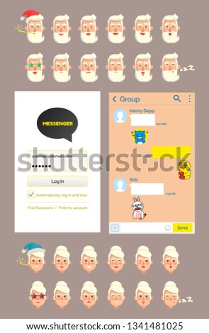 Interface of kakaotalk messenger vector, stickers with old man. Grandfather emoticons, granddad wearing Santa Claus hat, angry and sleepy grandmother