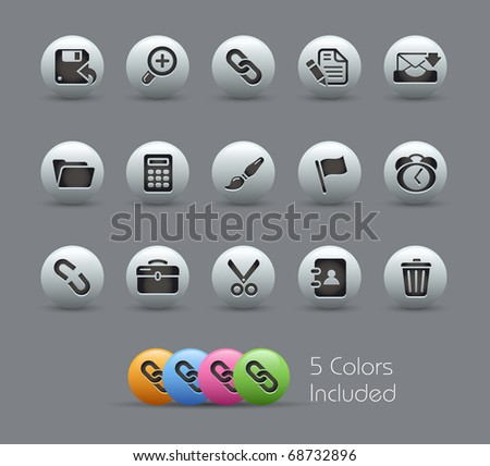 Interface // Pearly Series -------It includes 5 color versions for each icon in different layers --------- - stock vector
