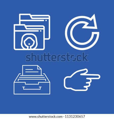 Interface related set of 4 icons such as archive, pointing right, redo