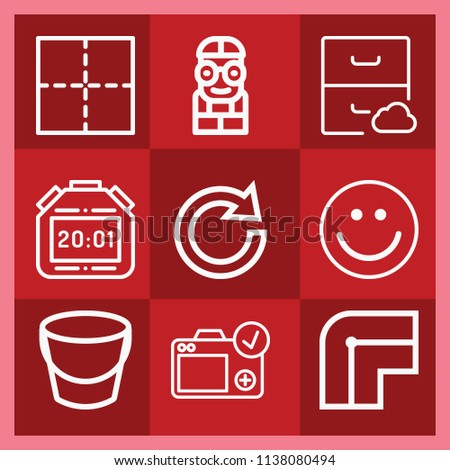 Interface related set of 9 icons such as archive, smile, border, outer, redo, stopwatch, bucket, camera