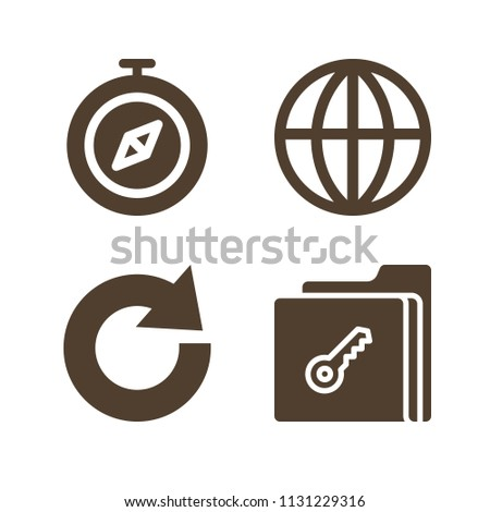 Interface related set of 4 icons such as earth globe, compass, redo