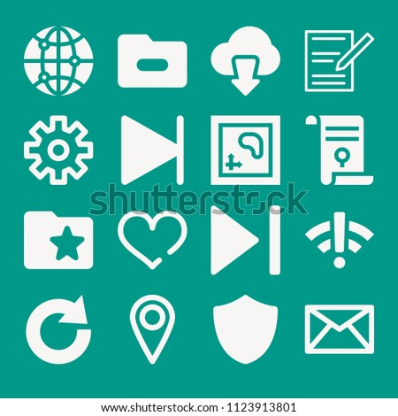 Interface related set of 16 icons such as email envelope button, location mark, settings cogwheel button, heart, shield, wifi, connect, agreement, redo, folder, download, map