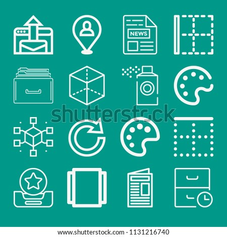 Interface related set of 16 icons such as inbox, archive, document, newspaper, cube, album, top, border, placeholder, redo, email, paint palette