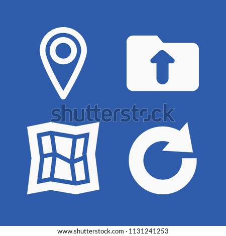 Interface related set of 4 icons such as location mark, map, redo