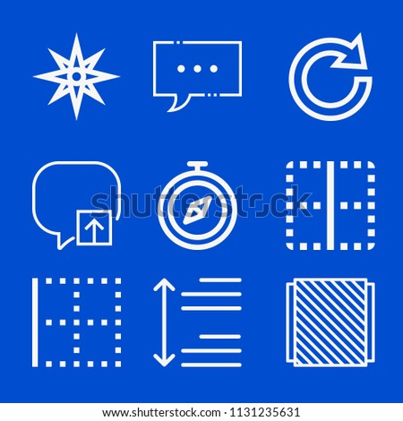 Interface related set of 9 icons such as speech bubble, album, spacing, border, compass, navigation, redo