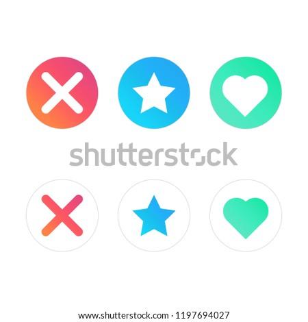Interface social media. Star, heart. Popular social network for dating. Vector illustration.
