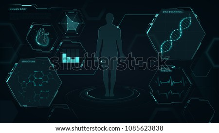 Interface, vector graphic, medical, heart, dna, graphs, human body, futuristic design, blue