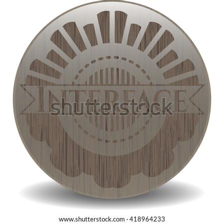 Interface vintage wooden emblem