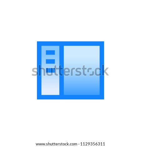 Interface with left slidebar menu vector pictogram. Blue line icon with gradient fill of set Simple Line Filled
