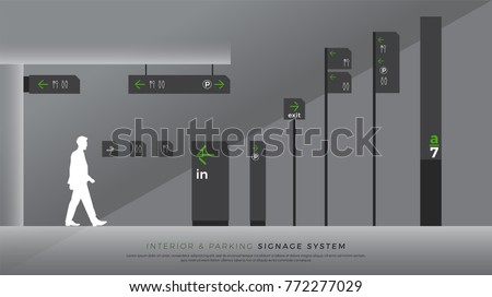 interior and parking signage. direction, pole, wall mount and traffic signage system design template set. empty space for logo, text, color corporate identity