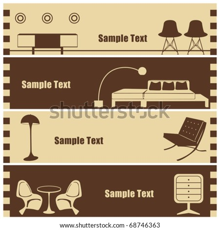 Interior banner set. Illustration vector. - stock vector