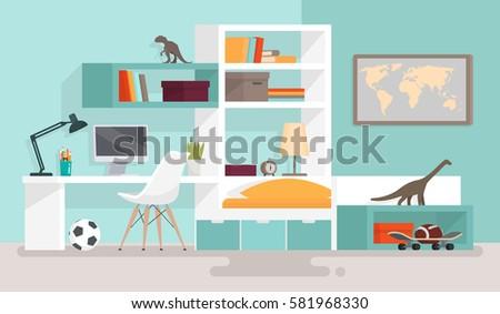 interior boy's room vector
