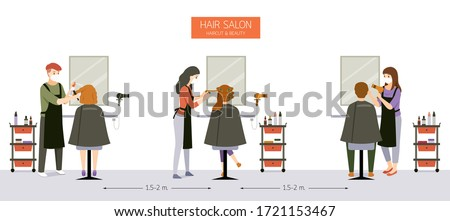 Interior Decoration of Hair Salon, Beauty salon, Barber Shop With Customer, Hairdresser, Furniture And Equipments, New Normal, Beauty, Shop, Healthcare