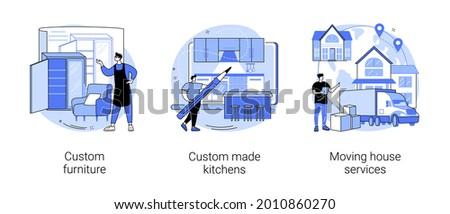 Interior design abstract concept vector illustration set. Custom furniture and bespoke kitchen furniture design, moving house services, artisan manufacturing, family home relocation abstract metaphor.