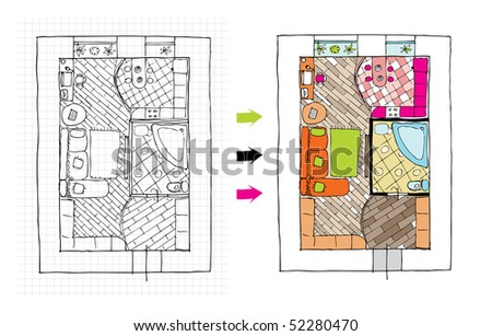 Interior design apartments - top view. Ragged lines, sketch handwork