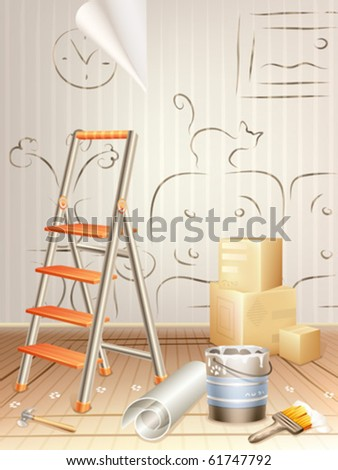 Interior design concept â?? room cluttered with building tools and a sketch drawn on the wall