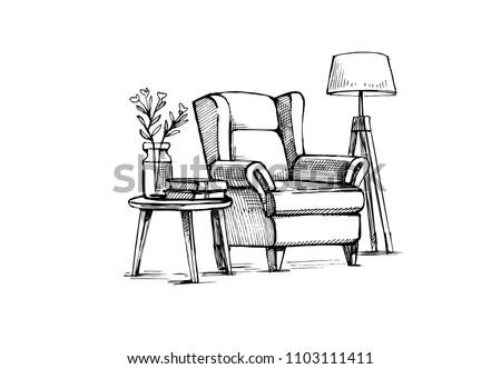 Interior Design doodle. Hand drawn vector sketch
