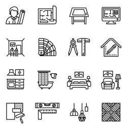 interior design icon set with white background. Line style stock vector.