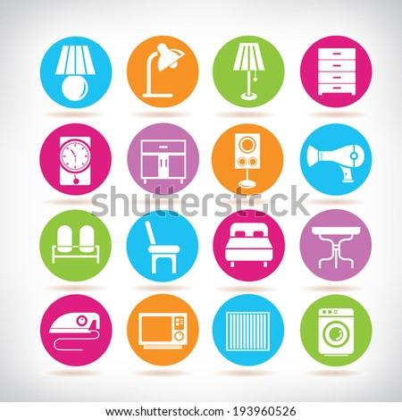 interior design icons furniture icons set