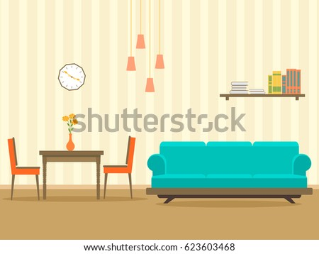 Interior Design In Flat Style Of Living Room With Furniture Sofa Table