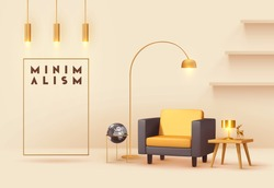 Interior design living room. Realistic wooden square table with gold lamp. Armchair yellow and black fabric. Hanging Golden Lamps. shelf on wall. Minimal composition 3d rendering. Vector illustration.