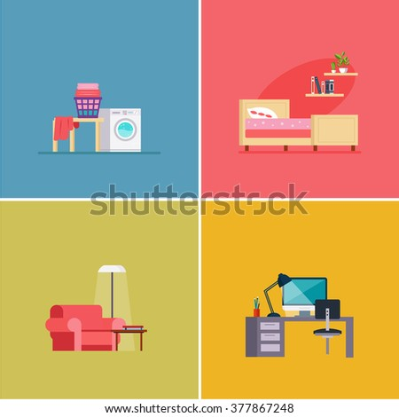 interior design rooms vector