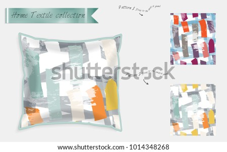 Interior design textile patterns. Realistic satin decorative pillow mock up with seamless pattern isolated on white. Two hand drawn seamless patterns with rough texture.