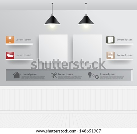 Interior design with home furniture icons, Vector illustration modern ...