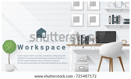Interior design with Modern workplace background , vector , illustration