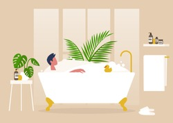 Interior design, Young male character washing in a clawfoot vintage bathtub full of soap foam, relaxation and body treatment