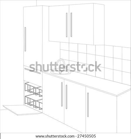 Interior. Draft Of Kitchen.Vector Illustration - 27450505