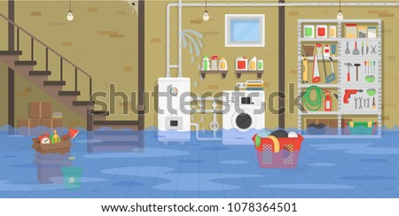 interior flooded basement with