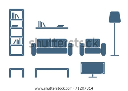 Interior furniture design icon â?? living room - stock vector