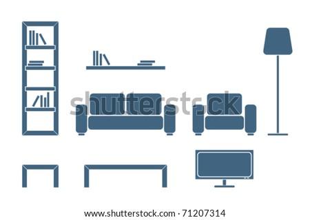 Interior furniture design icon â?? living room